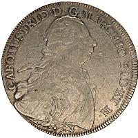 Изображение Монеты Баден 1 талер 1765 Серебро VF Карл Фридрих