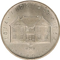 Изображение Монеты Норвегия 10 крон 1964 Серебро UNC- 150 лет конституции