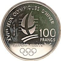 Изображение Монеты Франция 100 франков 1989 Серебро Proof- Олимпийские игры, фи