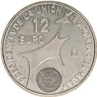 Изображение Монеты Испания 12 евро 2002 Серебро UNC Хуан Карлос I и Софи