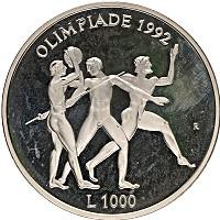 Изображение Монеты Сан-Марино 1000 лир 1992 Серебро Proof- Олимпийские игры