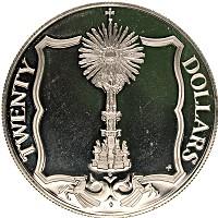 Изображение Монеты Виргинские острова 20 долларов 1985 Серебро Proof- Елизавета II