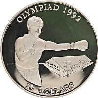 Изображение Монеты Соломоновы острова 10 долларов 1992 Серебро Proof- Олимпийские игры, бо