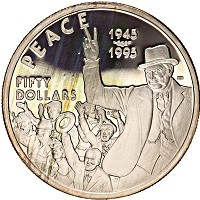 Изображение Монеты Маршалловы острова 50 долларов 1995 Серебро Proof Вторая Мировая Война