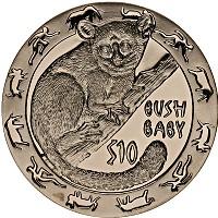 Изображение Монеты Сьерра-Леоне 10 долларов 2008 Серебро Proof Ночные животные, BUS