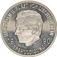 Изображение Монеты Лихтенштейн 10 франков 1990 Серебро Proof-