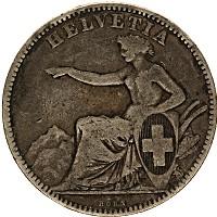 Изображение Монеты Швейцария 2 франка 1860 Серебро VF
