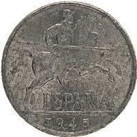 Изображение Монеты Испания 10 сентаво 1945 Алюминий XF-