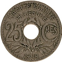 Изображение Монеты Франция 25 сантим 1919 Медно-никель XF
