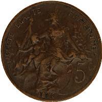 Изображение Монеты Франция 5 сантим 1916 Бронза XF