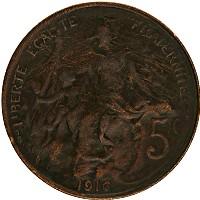 Изображение Монеты Франция 5 сантим 1916 Бронза XF-