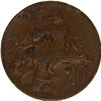 Изображение Монеты Франция 10 сантим 1912 Бронза XF-