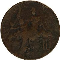 Изображение Монеты Франция 10 сантим 1901 Бронза VF