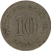 Изображение Монеты Германия 10 пфеннигов 1890 Медно-никель XF- J