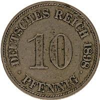 Изображение Монеты Германия 10 пфеннигов 1898 Медно-никель XF F