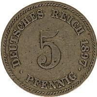 Изображение Монеты Германия 5 пфеннигов 1897 Медно-никель XF- Е