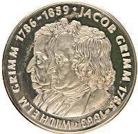 Изображение Монеты Германия настольная медаль 1986 Посеребрение Proof- Братья Гримм