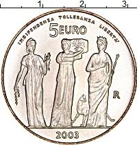 Изображение Монеты Сан-Марино 5 евро 2003 Серебро UNC