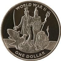 Изображение Мелочь Виргинские острова 1 доллар 2019 Медно-никель UNC Вторая Мировая Война
