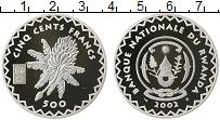 Изображение Монеты Африка Руанда 500 франков 2002 Серебро Proof