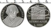 Изображение Монеты Италия 1000 лир 1999 Серебро Proof