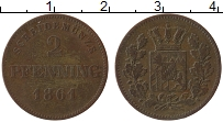 Изображение Монеты Германия Пруссия 2 пфеннига 1861 Медь