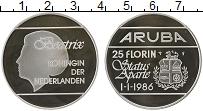 Изображение Монеты Аруба 25 флоринов 1986 Серебро Proof-