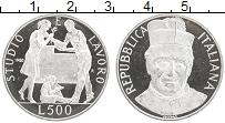 Изображение Монеты Италия 500 лир 1988 Серебро Proof- 100-летие смерти Джо