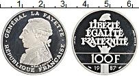 Изображение Монеты Франция 100 франков 1987 Серебро Proof- Генерал Фойетте
