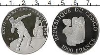 Изображение Монеты Конго 1000 франков 1999 Серебро Proof- Сидней 2000