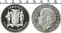 Изображение Монеты Ямайка 5 долларов 1976 Серебро Proof- Норман Манлей