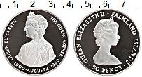 Изображение Монеты Фолклендские острова 50 пенсов 1980 Серебро Proof- Королева Елизавета I