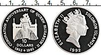Изображение Монеты Соломоновы острова 10 долларов 1992 Серебро Proof- Елизавета II. 40-лет