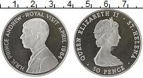 Изображение Монеты Остров Святой Елены 50 пенсов 1984 Серебро Proof-