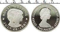 Изображение Монеты Остров Джерси 2 фунта 1981 Серебро Proof- Свадьба принца Чарль