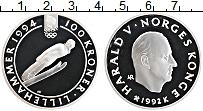 Изображение Монеты Норвегия 100 крон 1992 Серебро Proof- Олимпийские игры 199