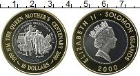 Изображение Монеты Соломоновы острова 10 долларов 2000 Биметалл Proof 100-летие королевы-м