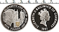 Изображение Монеты Гернси 5 фунтов 1997 Серебро Proof- Елизавета II.