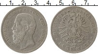 Изображение Монеты Баден 5 марок 1876 Серебро VF Фридрих