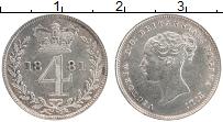 Изображение Монеты Великобритания 4 пенса 1881 Серебро XF