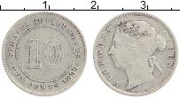 Изображение Монеты Стрейтс-Сеттльмент 10 центов 1889 Серебро VF Виктория.