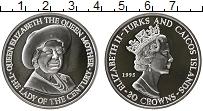 Изображение Монеты Теркc и Кайкос 20 крон 1995 Серебро Proof