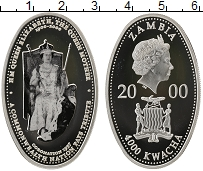 Изображение Монеты Замбия 4000 квач 2000 Серебро Proof
