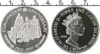 Изображение Монеты Великобритания Теркc и Кайкос 20 крон 1993 Серебро