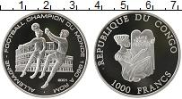 Изображение Монеты Конго 1000 франков 2001 Серебро Proof Чемпионат мира по фу
