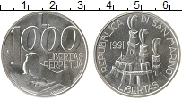 Изображение Монеты Европа Сан-Марино 1000 лир 1991 Серебро UNC-