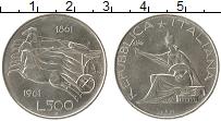 Изображение Монеты Европа Италия 500 лир 1961 Серебро UNC-