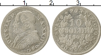 Изображение Монеты Ватикан 10 байоччи 1868 Серебро XF