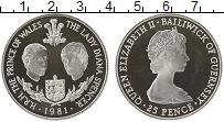 Изображение Монеты Гернси 25 пенсов 1981 Серебро Proof- Елизавета II. Свадьб