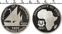 Изображение Монеты Конго Заир 1000 заиров 1997 Серебро Proof-
